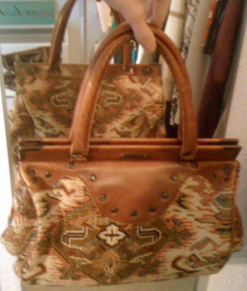 Vintage Tapestry 'Doctor' Leather Trim Handbag