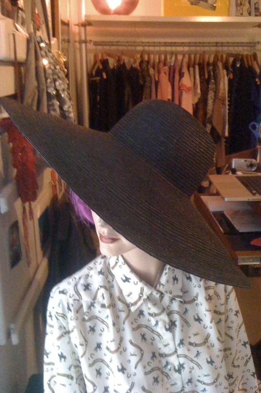 Vintage Wide Brim Saint Laurentesque Black Straw