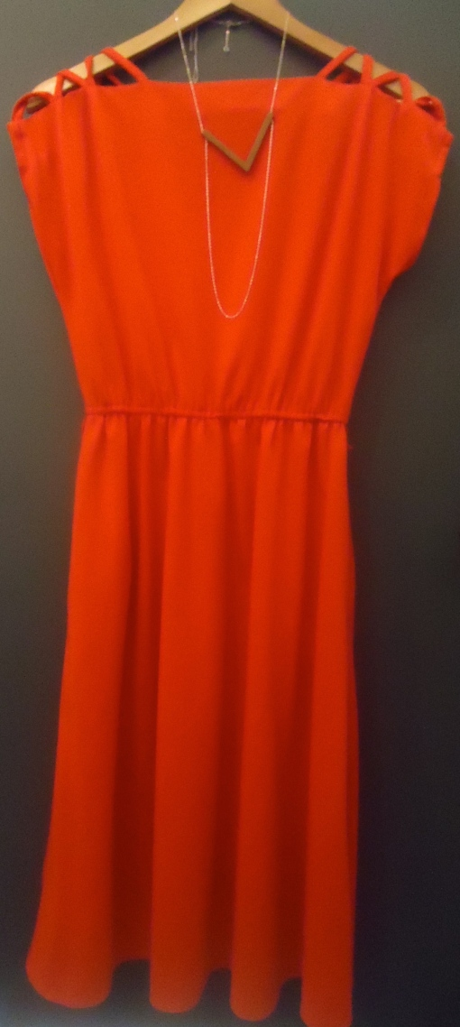 Vintage Legil Poppy Red Day Dress with Mileki 'V' Pendant