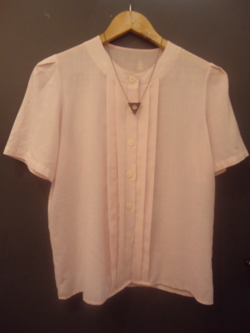 Vintage Sugar Pink Cotton Button Blouse with Mileki Triangle and Circle Pendant