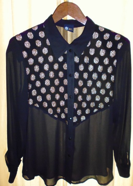 Vintage Sheer Black Blouse With Gold Polka Dot Detail plus more in store!