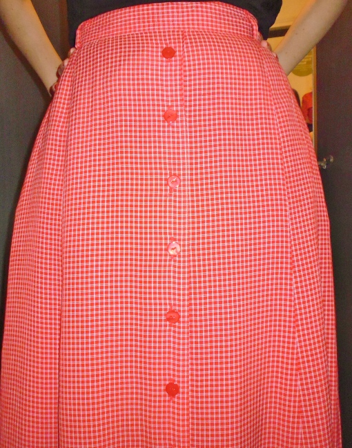 Vintage Red Plaid Print Button Maxi Pocket Skirt