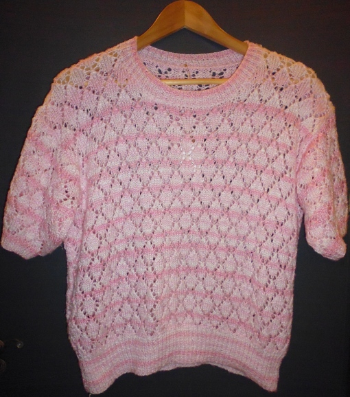 Vintage 80s Pink and White Stripe Pattern Crochet Hand Made Knit Top