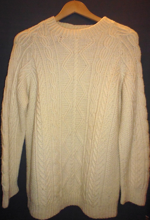 Vintage 70s Cream Aran Wool Cable Knit Jumper
