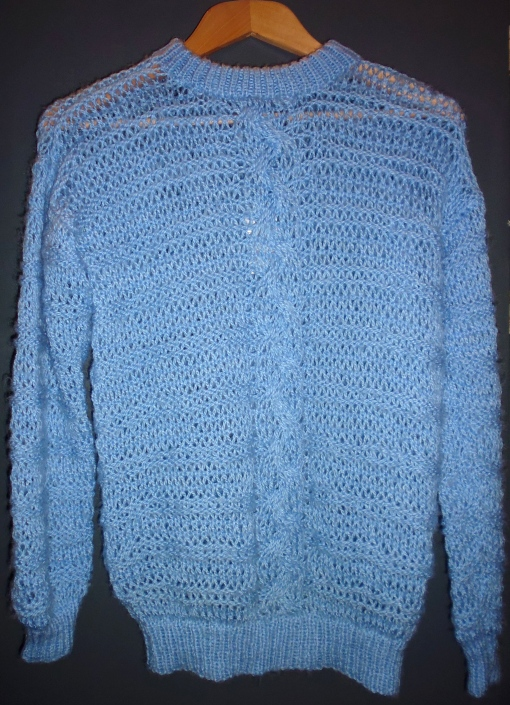 Vintage 80s Powder Blue Jumbo Cable Fisherman Handmade Knitted Jumper