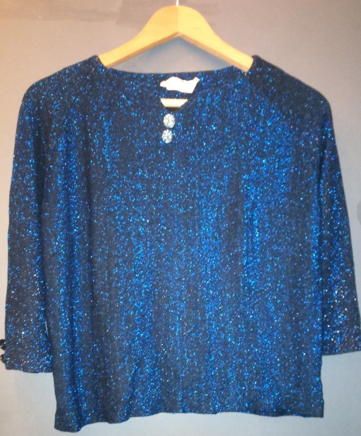 Vintage 60s Blue Sparkle Iridescent Button Detail Top