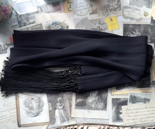 Vintage black crepe silk long fringed opera scarf £22