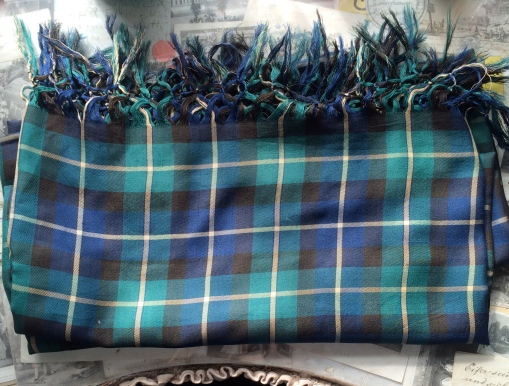 Vintage Plaid Green Blue Tassle Edge Large Shawl £30