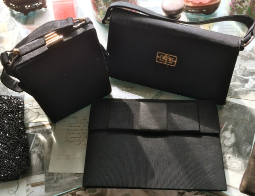A selection of vintage 50s evening purses: box £25  , shoulder £20 and clutch £20