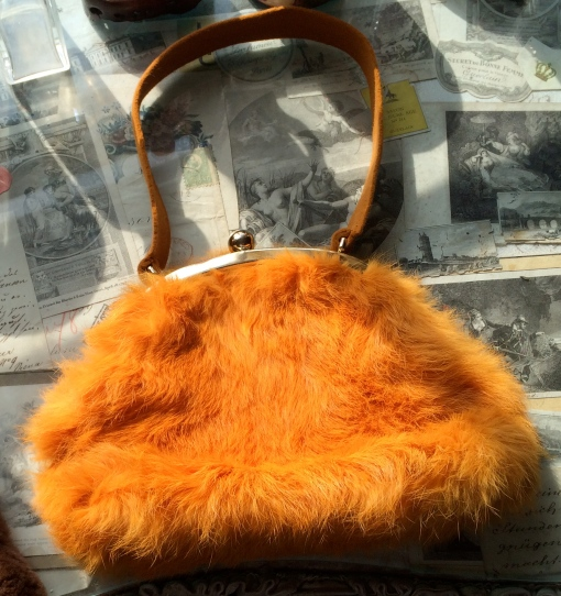 Preloved Christine Bec for Barney's Clementine Orange Rabbit Fur Bag £POA