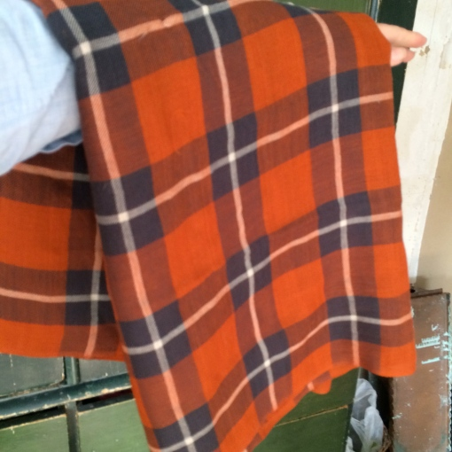 Preloved Tomato Red Plaid Cotton Large Shawl £15