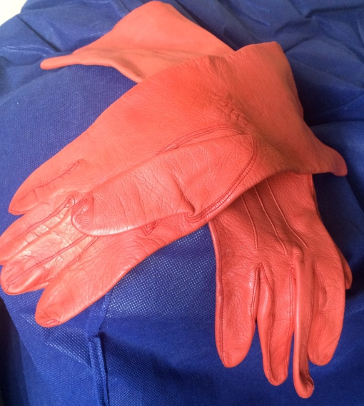 Vintage burn orange fine leather city gloves £30