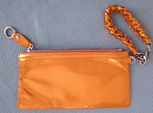 Preloved Alberta Ferretti Orange Foil Leather Party Clutch Wallet £TBC