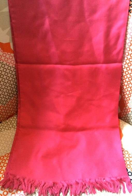 Vintage Cerise Pink Silk Tassel Edged Evening Scarf