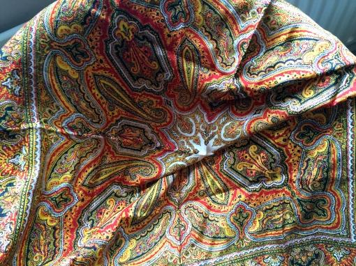 Vintage Bohemian Folk Print Silk Large Scarf